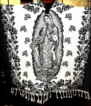 MEXICAN PONCHO ,VIRGEN DE GUADALUPE , BLANKET SARAPE,ONE SIZE, BLACK & WHITE Gaban