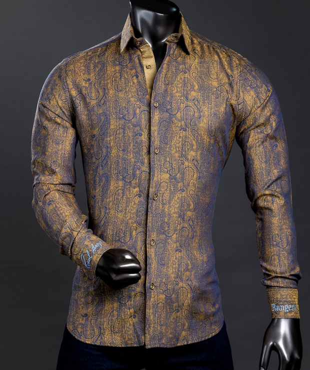 Rafael Amaya Luxury Collection Belek Style Gold Long Sleeve Shirt - 239CA01