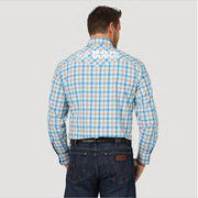 MEN'S WRANGLER® LOGO RAM RODEO SERIES WESTERN SNAP PLAID SHIRT