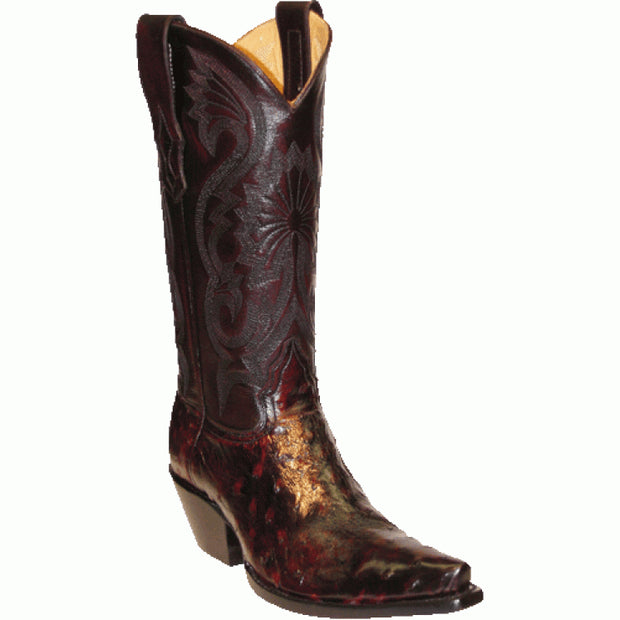 "Star Boots 13"" Black Cherry Full Quill Ostrich M9228"