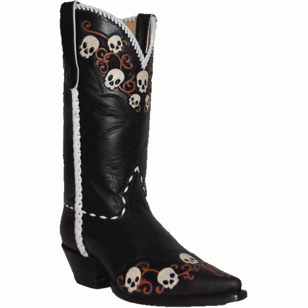 "Star Boots 13"" Black Tooled Skulls Hand Braided Said Seams & Collar M7110"