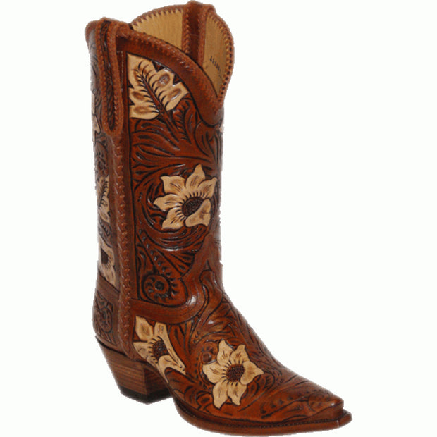 "Star Boots 13"" Hand Tooled Natural Sunflower M7051"