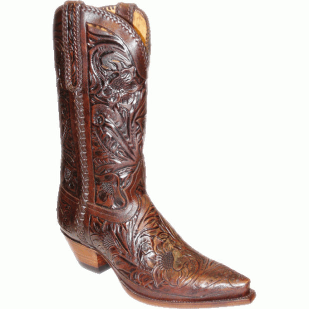 "Star Boots 13"" Hand Tooled Sunflower Chocolate M7050"