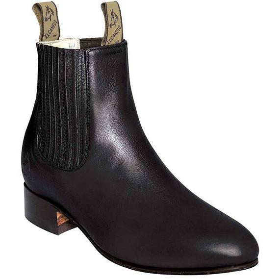 El Canelo Men's Deer Botin Charro Black