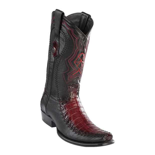 MEN'S WILD WEST BOOTS CAIMAN BELLY/DEER TALL DUBAI FADED BURGUNDY