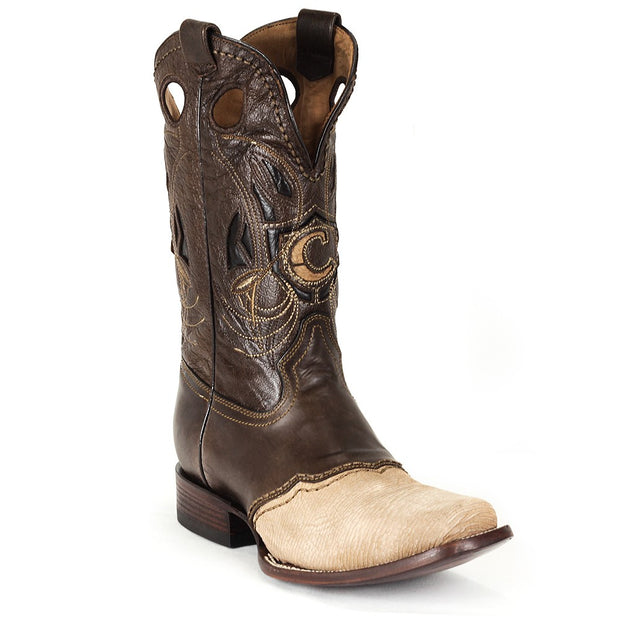 Cuadra Mens Traditional Embroidered Shark Boots Sand 2I02TI