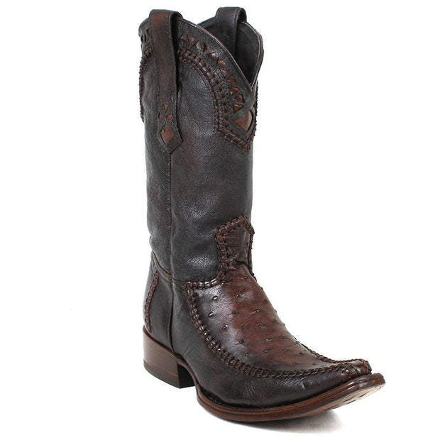 1B27A1 Cuadra Traditional Cowboy Boots Ostrich Stitched Flame Chocolate