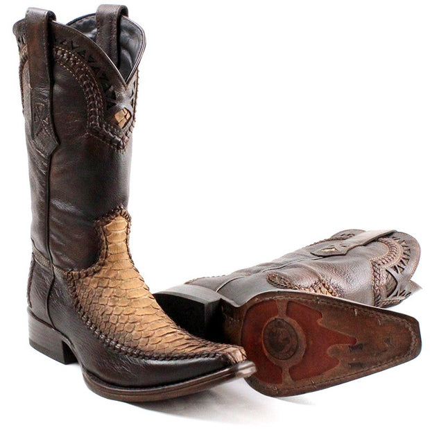 Cuadra Men Boots Python Leather Polished Straw 1B27PH