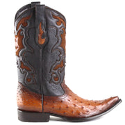 Y315A1 Cuadra Genuine Ostrich Cowboy Boots Flame Honey