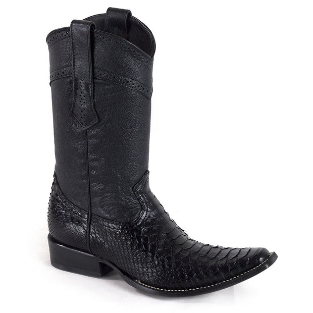 Cuadra Mens Genuine Python Black Boots 1B24PH