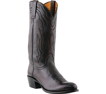 Lucchese Mens Bootmaker M1021.J4 Rounded Point Toe Cowboy Heel Boot (Men's) Black Cherry