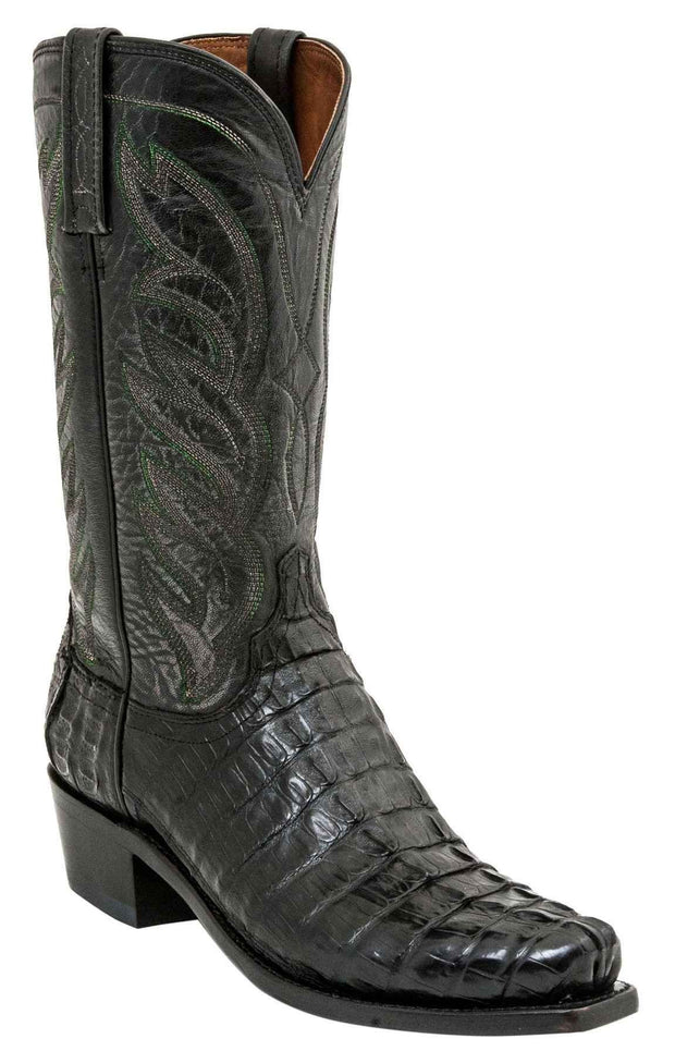 Lucchese Men's Black Caiman Tail Cowboy Boots - M2690