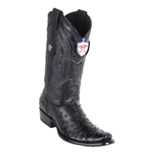 Men's Wild West Boots Ostrich Tall Dubai Black