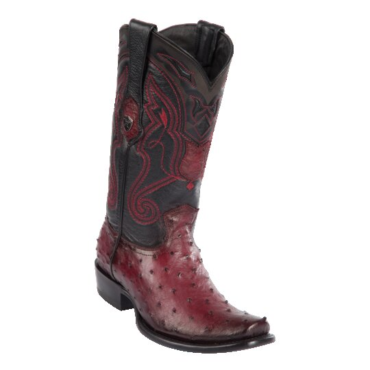MENS WILD WEST BOOTS OSTRICH TALL DUBAI FADED BURGUNDY