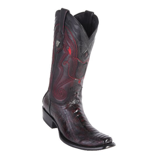 Men's Dubai Boot Tall Ostrich Leg BLK Cherry