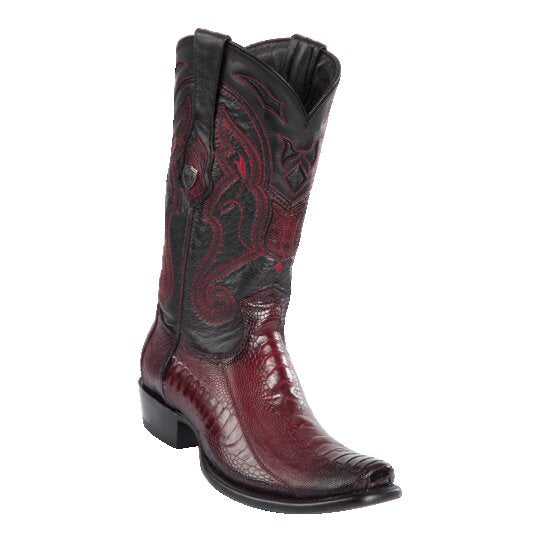 MEN'S WILD WEST BOOTS OSTRICH LEG TALL DUBAI BURGUNDY