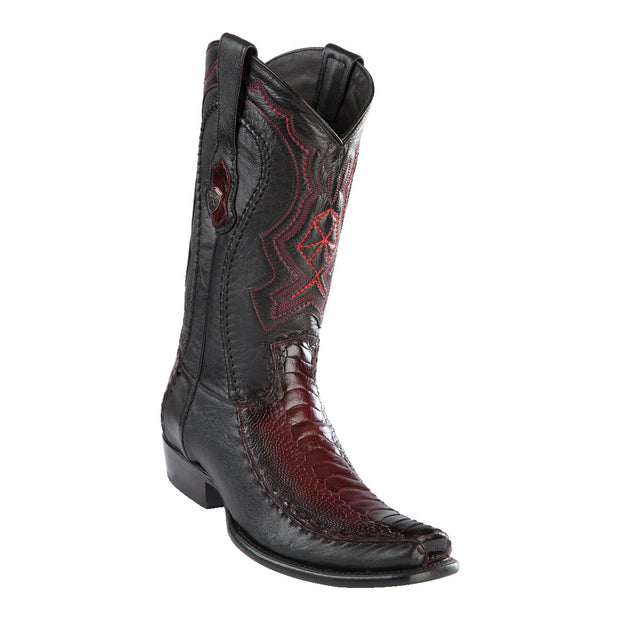 MEN'S WILD WEST BOOTS OSTRICH LEG/DEER TALL DUBAI FADED BURGUNDY