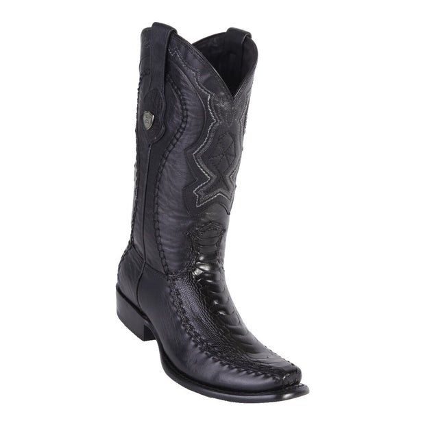WILD WEST BOOTS MENS OSTRICH/DEER TALL DUBAI BLACK
