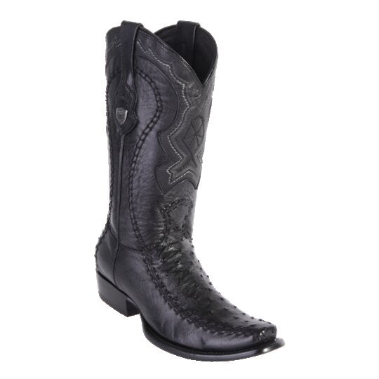 MEN'S WILD WEST BOOTS OSTRICH/DEER TALL DUBAI BLACK