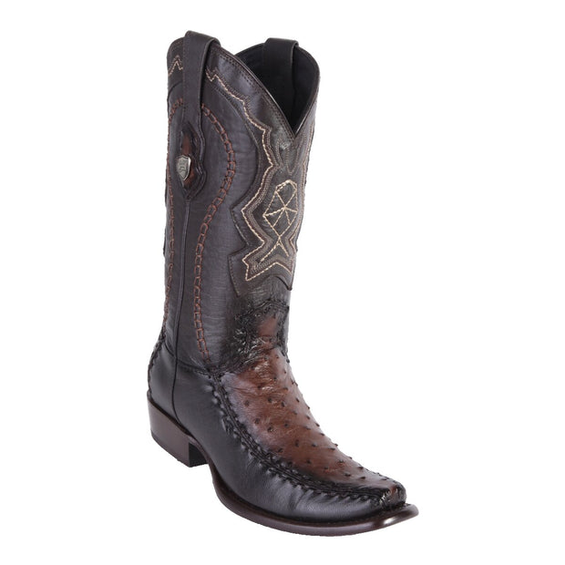 MEN'S WILD WEST BOOTS OSTRICH/DEER TALL DUBAI FADED BROWN