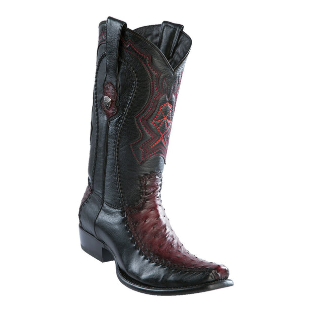 MEN'S WILD WEST BOOTS OSTRICH/DEER TALL DUBAI FADED BURGUNDY