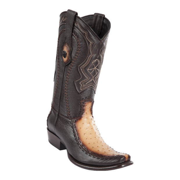 MEN'S WILD WEST BOOTS OSTRICH/DEER TALL DUBAI FADED ORYX