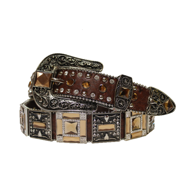 Cowboy Western Rhinestone Belt Brown