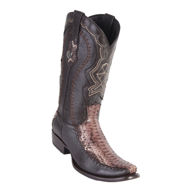 MEN'S WILD WEST BOOTS PYTHON/DEER TALL DUBAI RUSTIC BROWN