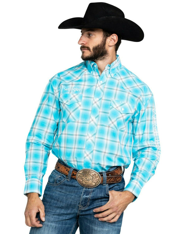 Wrangler Men's Turquoise Logo Large Plaid Long Sleeve Western Shirt Turquoise MP1303G
