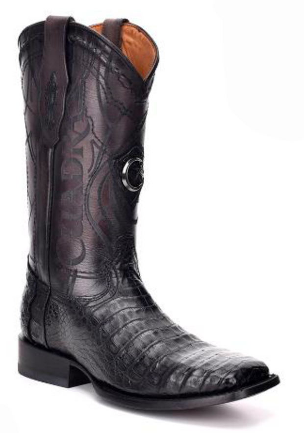 1E1OFY Cuadra Men's Square Toe Caiman Paris Negro Cowboy Boot