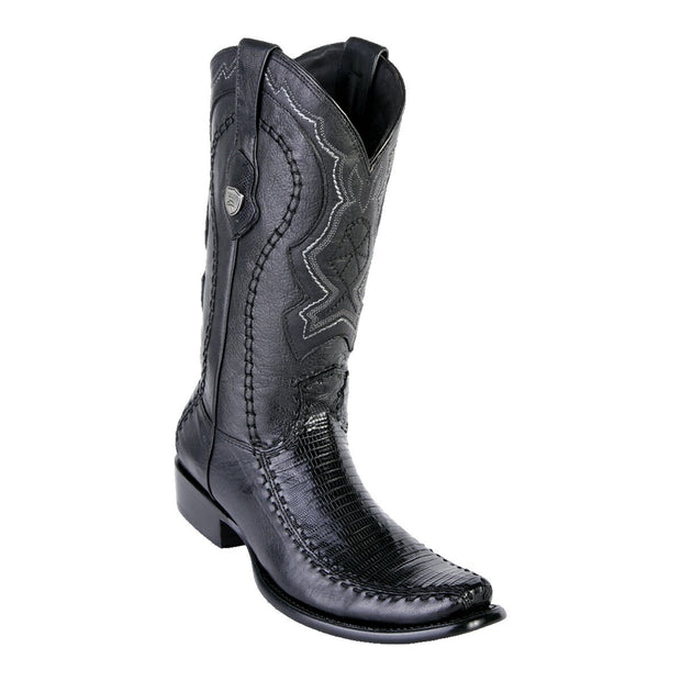 MEN'S WILD WEST BOOTS LIZARD/DEER TALL DUBAI BLACK