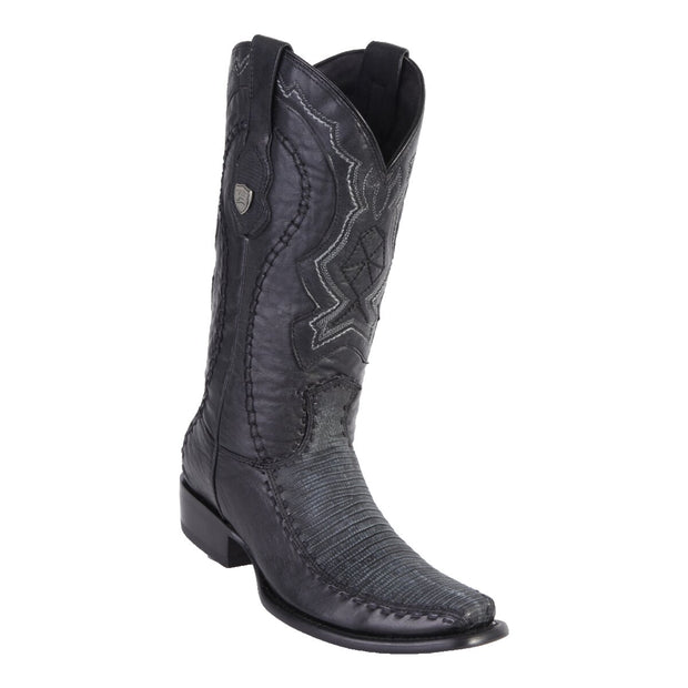 MEN'S WILD WEST BOOTS LIZARD/DEER TALL DUBAI SANDED BLACK
