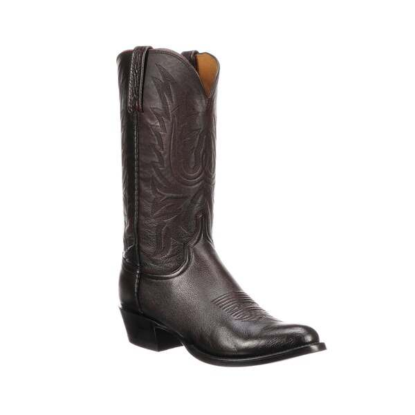 Lucchese Mens Bootmaker Carson Cowboy Boots Black Cherry Lonestar Calf Leather M1021.R4 (Mens)