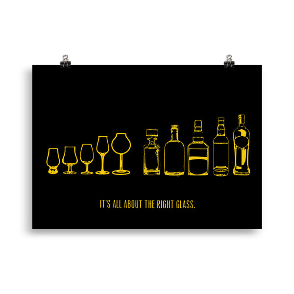 "Poster: ""It's all about the right glass."" (schwarz/gold und schwarz/weiß) - The Pot Still"