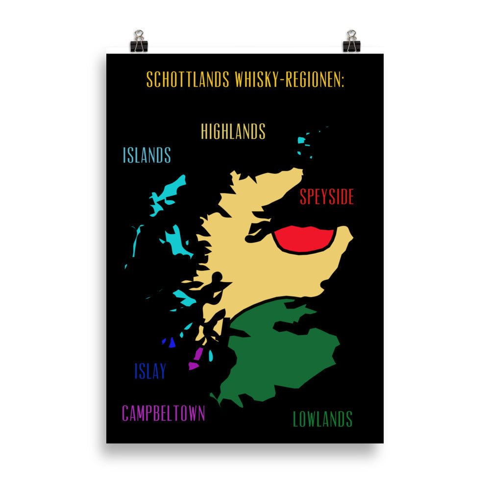 Poster: Schottlands Whisky-Regionen (schwarz/bunt) - The Pot Still