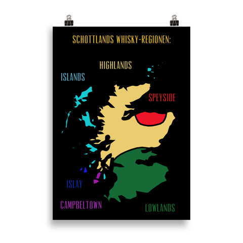 Poster: Schottlands Whisky-Regionen (black/coloured) - The Pot Still