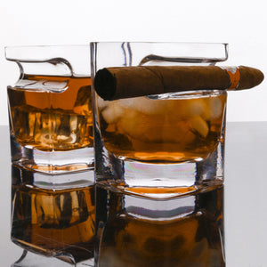 Whisky Kristallglas Tumbler mit Zigarrenhalter - The Pot Still