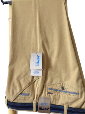 Meyer 1-5033 Chicago Cotton Chino Trousers- Yellow