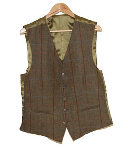 Scott Olive & Gold Waistcoat with Overcheck
