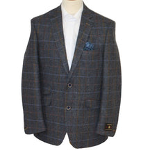 Load image into Gallery viewer, Scott Blue Muted Herringbone Jacket with Overcheck