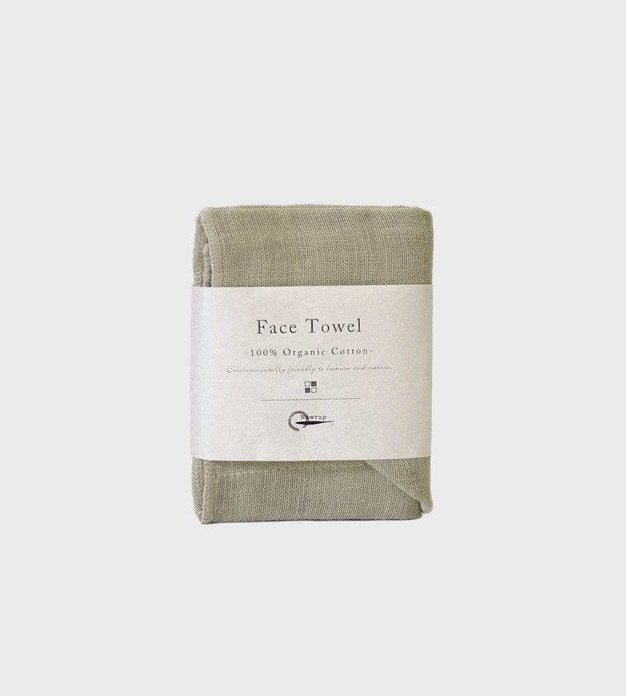 100% Organic Cotton Face Cloth | Green & Ivory