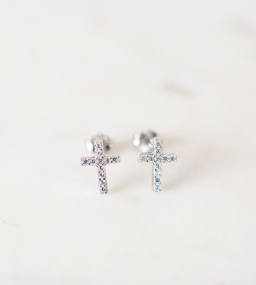 Sophie | Sparkle Cross Studs Earrings