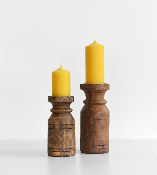 Advika Wooden Candlestick Holder
