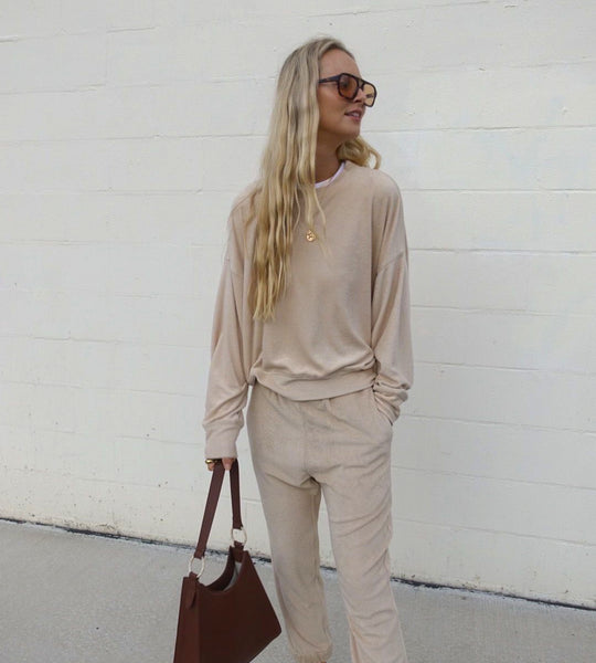 Araminta James | Terry Long Sleeve Sweatshirt | Biscuit