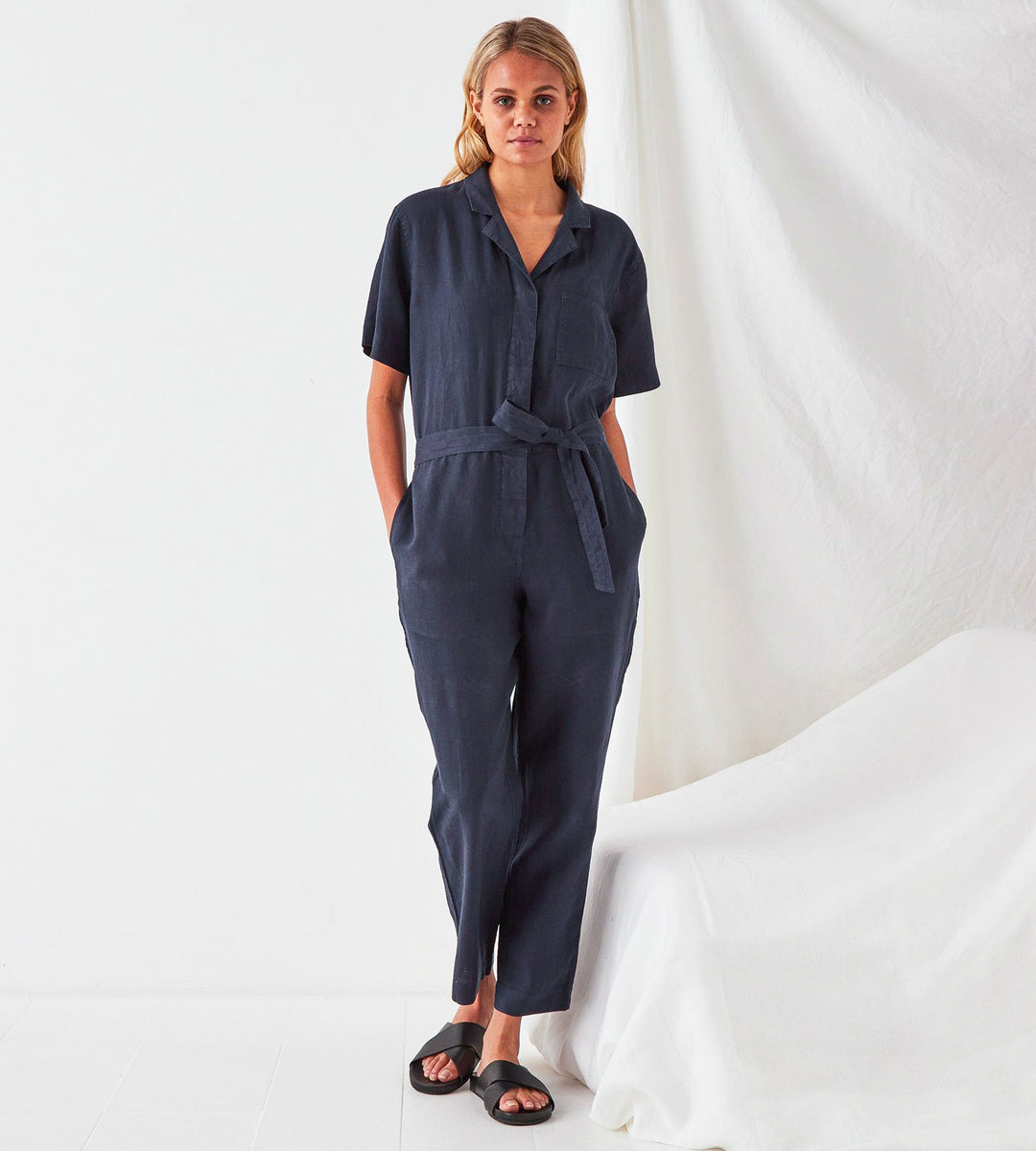 Assembly Label | Blair Linen Boilersuit | True Navy