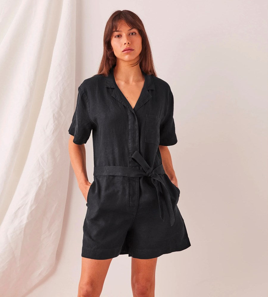 Assembly Label | Blair Linen Playsuit | Black