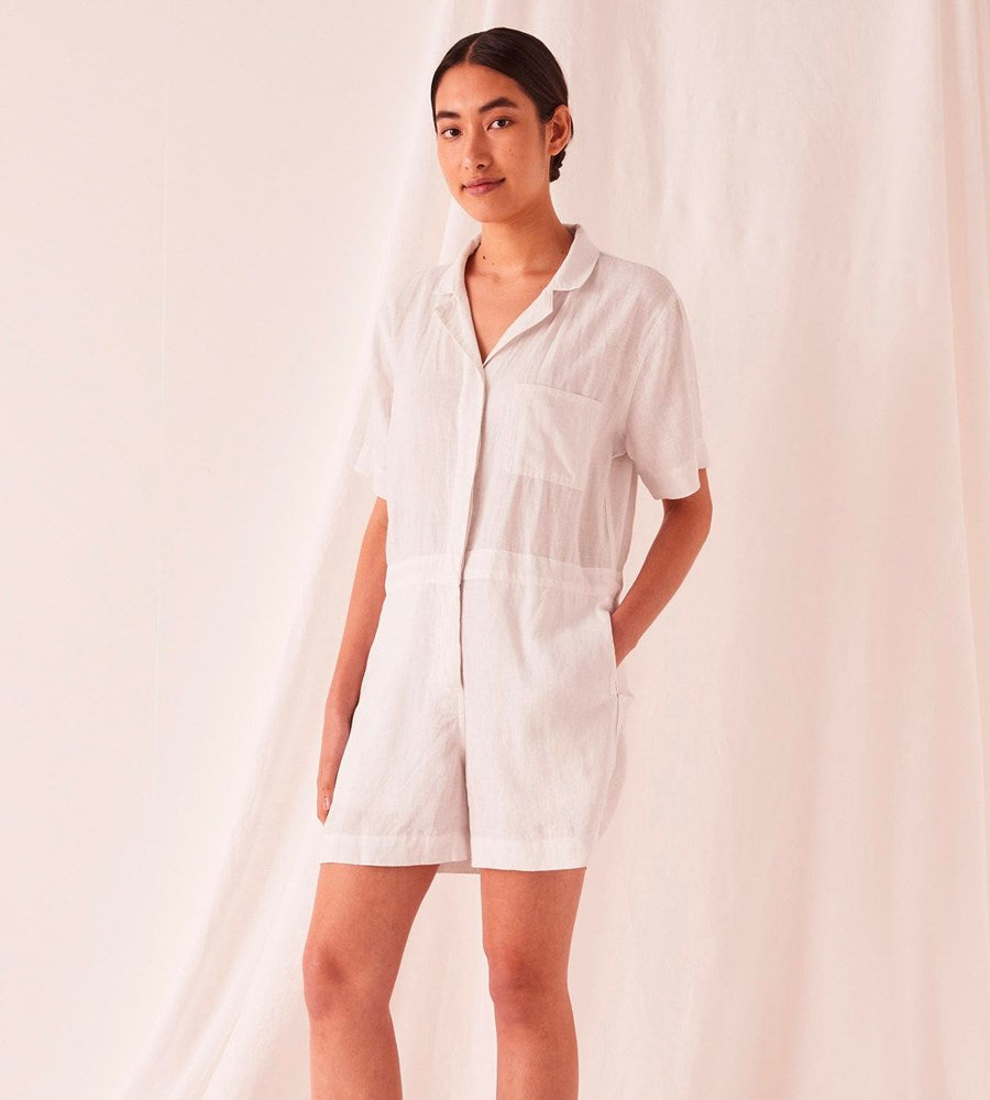 Assembly Label | Blair Linen Playsuit | Silver Grey