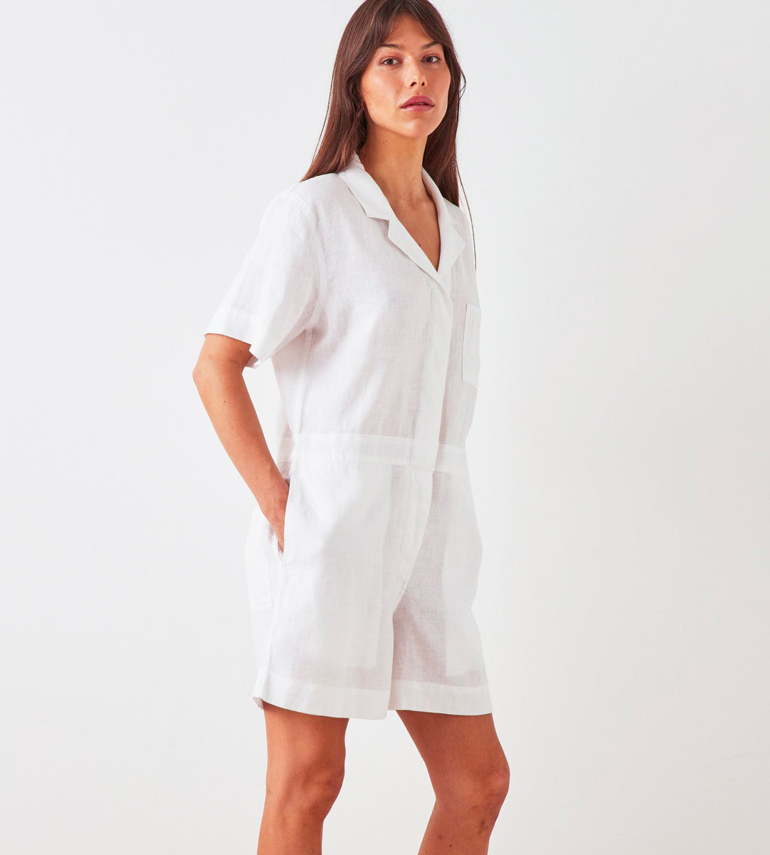 Assembly Label | Blair Linen Playsuit | White