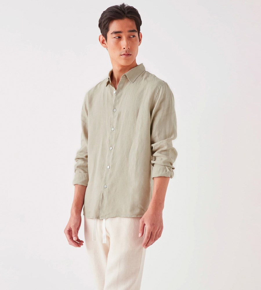 Assembly Label | Men's Casual Long Sleeve Shirt | Washed Khaki