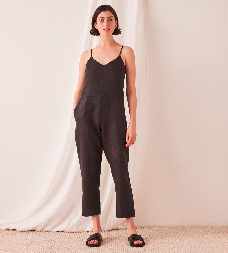 Assembly Label | Linen Slip Jumpsuit | Black
